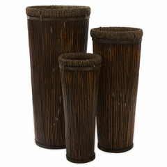 Langham Tall Willow Planters (Set of 3) - IMAX - 67037-3