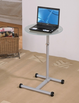 Laptop Stand with Clear Glass and Wheels - View - 01908
