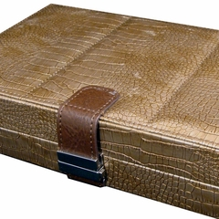 Large Contour Jewelry Box in Bronze Textured Faux Leather - Vivienne - Jewelry Boxes by Mele - 0062942M