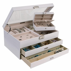 Large Croco Faux Leather Windowed Jewelry Box in Snow White - Alana - Jewelry Boxes by Mele - 0063410M