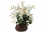 Large Cymbidium Silk Flower Arrangement - Nearly Natural - 1199-WH