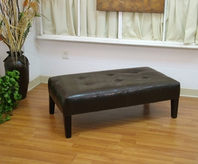 Large Faux Leather Coffee Table in Brown - 4D Concepts - 550070