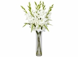 Large Gladiola with Cylinder Vase Silk Arrangement - Nearly Natural - 1240