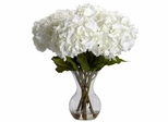 Large Hydrangea with Vase Silk Flower Arrangement - Nearly Natural - 1260