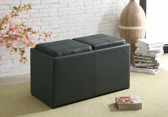 Large Ottoman with Additional Seating in Black - 501080