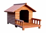 Large Size Log Home Cedar Brown Pet House with Front Porch - Merry Products - EL001-HP