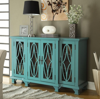 Large Teal Cabinet with 4 Glass Doors - 950245