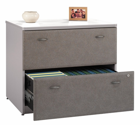 Lateral File Cabinet - Fully Assembled - Series A Pewter Collection - Bush Office Furniture - WC14554ASU