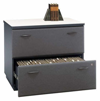 Lateral File Cabinet - Fully Assembled - Series A Slate Collection - Bush Office Furniture - WC84854ASU