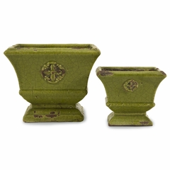Lavache Green Square Planters (Set of 2) - IMAX - 40147-2