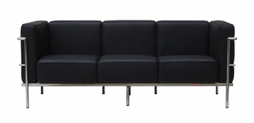 Le Corb 3-Seater Leather Sofa in Black - FF610-3-BK
