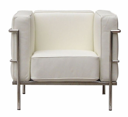 Le Corb Leather Arm Chair in White - FF610-1-WHITE