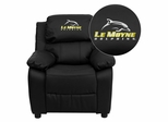 Le Moyne College Dolphins Embroidered Black Leather Kids Recliner - BT-7985-KID-BK-LEA-41046-EMB-GG
