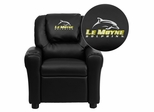 Le Moyne College Dolphins Embroidered Black Vinyl Kids Recliner - DG-ULT-KID-BK-41046-EMB-GG