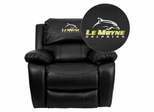 Le Moyne College Dolphins Leather Rocker Recliner - MEN-DA3439-91-BK-41046-EMB-GG