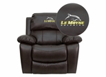 Le Moyne College Dolphins Leather Rocker Recliner  - MEN-DA3439-91-BRN-41046-EMB-GG