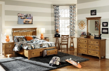 Lea Americana Full Storage Bed Bedroom Set with Desk - 237-947R