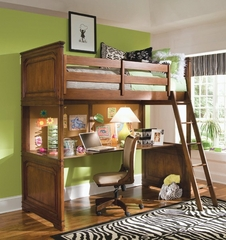 Lea Elite Cherry Bedroom Twin Loft Bed with Desk - Lea American Drew - CLASSICSSET7