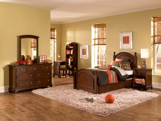 Lea Elite Covington Twin Panel Bed Bedroom Set with Desk - 145-930R
