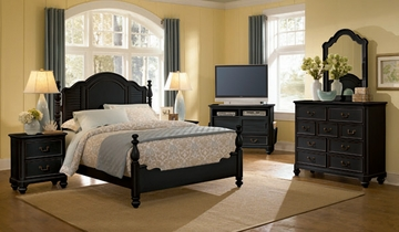 Lea Elite Retreat Black Queen Size Bedroom Set with 2 Nightstands - 148-950R