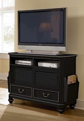 Lea Elite Retreat Black Sliding Door Media Chest with Drawers - 148-110