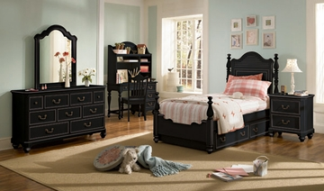 Lea Elite Retreat Black Twin Size Bedroom Set with Desk - 148-930R