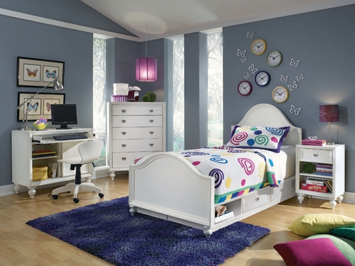 Lea Elite Zoe Twin Panel Bed Bedroom Set with Desk - 070-932R