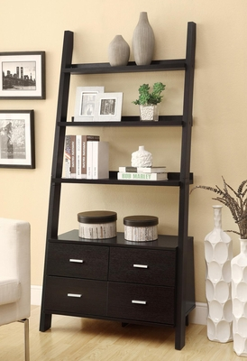 Leaning Ladder Bookshelf with 2 Drawers - 800319