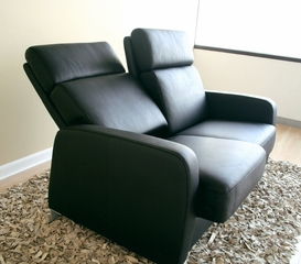 Leather Loveseat - 2-Seater Chair in Black - 1039-2SEATER-BLK