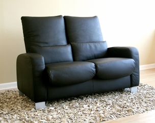 Leather Loveseat - 2-Seater Chair in Black - 1050-2SEATER-BLK
