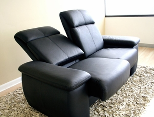 Leather Loveseat - 2-Seater Chair in Black - 1090-2SEATER-BLK