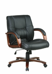 Leather Mid Back Chair - Office Star - WD5361