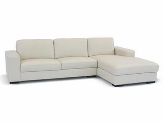 Leather Sectional Sofa Set - 2 Piece with Sofa and Chaise in Cream - A3022-J050-2PC