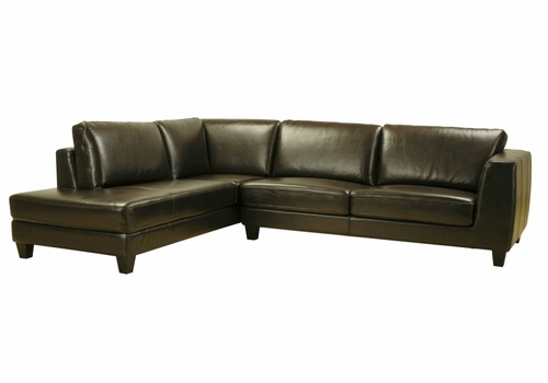 Leather Sectional Sofa Set - 2 Piece with Sofa and Chaise in Dark Brown - 3088-J001-2PC-BRN