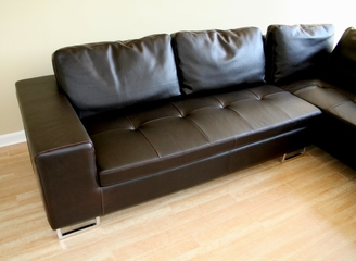 Leather Sectional Sofa Set - 2 Piece with Sofa and Chaise in Dark Brown - 3112-J509-2PC-BRN