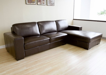 Leather Sectional Sofa Set - 2 Piece with Sofa and Chaise in Dark Brown - A3022-J001-2PC