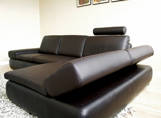Leather Sectional Sofa Set - 2 Piece with Sofa and Chaise in Dark Brown - CHAMPAGNE-2PC-BRN