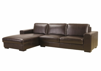 Leather Sectional Sofa Set - 2 Piece with Sofa and Chaise in Dark Brown (Reversed) - A3022-J001-2PC-REV