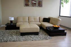 Leather Sectional Sofa Set - 3 Piece with Sofa, Chaise and Ottoman in Beige/Brown - 753-P8008-P8005-3PC