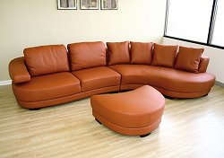 Leather Sectional Sofa Set - 3 Piece with Sofa, Lying and Ottoman in Orange - 872-P8003-3PC
