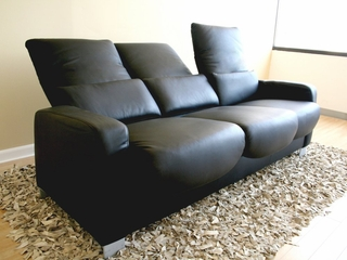 Leather Sofa - 3-Seater Chair in Black - 1050-3SEATER-BLK