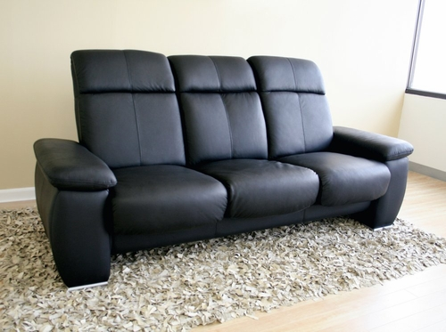 Leather Sofa - 3-Seater Chair in Black - 1090-3SEATER-BLK