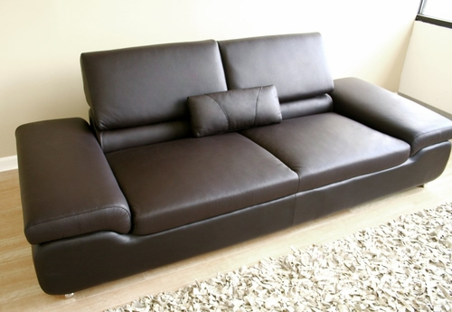 Leather Sofa - 3-Seater Chair in Dark Brown - LUXURY-3SEATER-BRN
