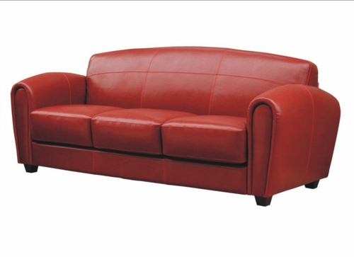 Leather Sofa in Red - A3007-J067-SOFA