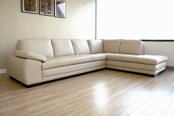 Leather Sofa Sectional Set - 2 Piece with Sofa and Chaise in Beige - 625-M9818-2PC