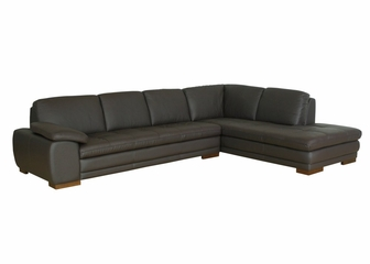 Leather Sofa Sectional Set - 2 Piece with Sofa and Chaise in Dark Brown - 625-M9256-2PC