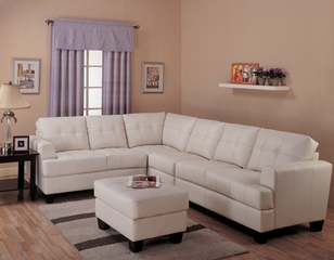 Leather Sofa Set 1 - 3 Piece in Cream Leather - Coaster