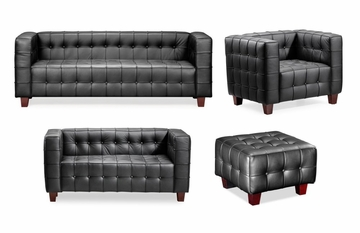 Leather Sofa Set 1 - Button - Zuo Modern - BUTTON-SSET-1