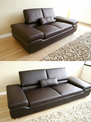 Leather Sofa Set - 2 Piece in Dark Brown - LUXURY-2PC-BRN