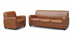Leather Sofa Set - 2 Piece with Sofa and Chair in Light Brown - A3039-J010-2PC